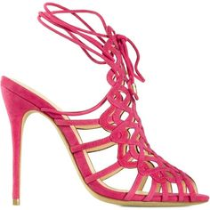 Alexandre Birman strappy stiletto sandals (7 085 UAH) ❤ liked on Polyvore featuring shoes, sandals, pink strappy sandals, heels stilettos, pink suede shoes, high heels stilettos and pink suede sandals