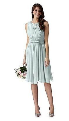 Debut - Debut pale blue vintage bow midi dress