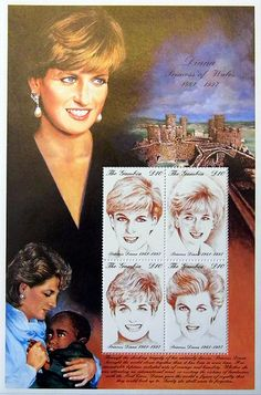 """Princess Diana """"Diana Sketches"""" Plate Block of 4 Postage Stamps Issued by the Republic of Gambia, Diana - Princess of Wales 1961 - 1997."""
