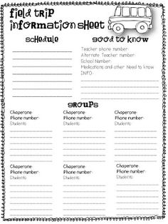 Field Trip Info Form- great to keep you organized on crazy field trip days. FREEBIE!