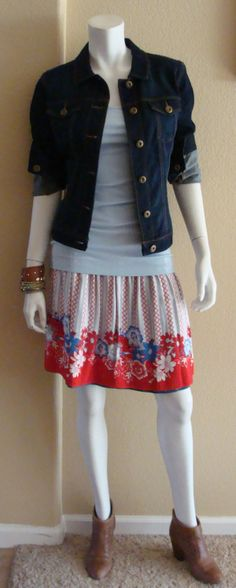 Daily Look: CAbi Spring '14 Short Reversible Skirt, Essential Tank in Wedgewood and Norma Jean Jacket. www.suzanneschuetter.cabionline.com