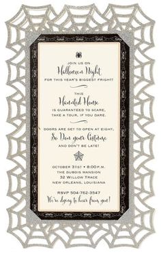 Glittered Spider Web Diecut Invitations