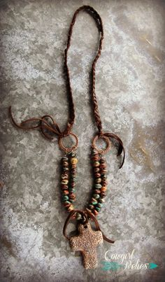 Boho-style western necklace-Agate, Cross, Leather Fringe, Copper