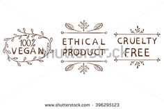 100% vegan; ethical product; cruetly free. Vintage hand drawn elements isolated on white. Brown lines.  - stock vector