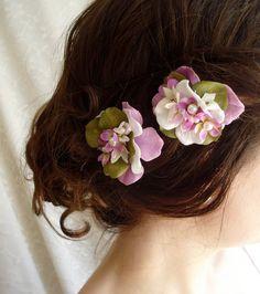 Purple Flower Hair Pins