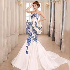 2016 Azul E Branco Da Porcelana de Luxo Vestido de Noite Longo Vestido de Casamento Tradicional Chinês Qipao Cheongsam Frete Grátis