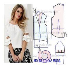 BLUSA DECOTE FRANZIDO -69 - Moldes Moda por Medida