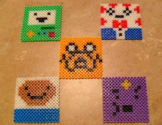 My new Adventure Time Perler Bead Coasters and easy to follow patterns
