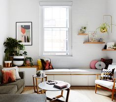 The Design Files Daily ... love the bench seat under window.  Would like something like this at end of our dining room
