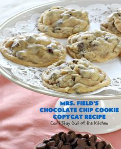 Field's Chocolate Chip Cookie Copycat Recipe – Can't Stay Out of the Kitchen Mrs Fields Chocolate Chip Cookies, Best Chocolate Chip Cookie, Semi Sweet Chocolate Chips, Cookie Recipes, Dessert Recipes, Dessert Ideas, Blueberry Cobbler Recipes, My Favorite Food, Favorite Recipes