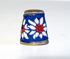 Vintage Silver Embroidered Floral Thimble Blue Fabric Cloth Austria | eBay