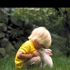 Rabbit and little boy, so sweet!