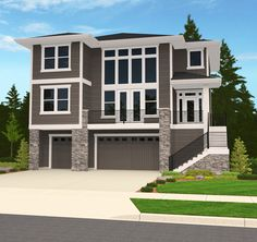 A deluxe home for an uphill site with a front view. The tucked under garage approaches four car garage size and utility. www.markstewart.com