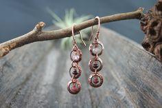Valentine, Kupferohrringe,rosa,pink,altrosa von ~ EgoDeco~ (since 2012) auf DaWanda.com