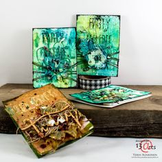 It's Terhi here with you today, sharing some ATC's I did during Mixed Media Party last October. Sometimes the best ideas come. Art Trading Cards, Mixed Media Cards, Atc Cards, Pocket Cards, Mixed Media Artists, Mail Art, Altered Art, Mini Albums, Paper Art