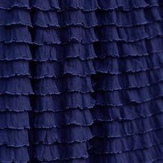 Custom NAVY Ruffled Long Curtain Panel, Blue, 84 Inch or Custom Length