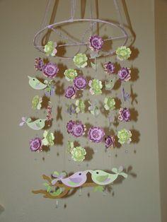 Purple, bird mobile for a nursery. Cute idea...