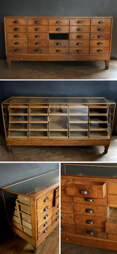 An original 1920s vintage glass-fronted haberdashery display unit at thearchitecturalforum.com