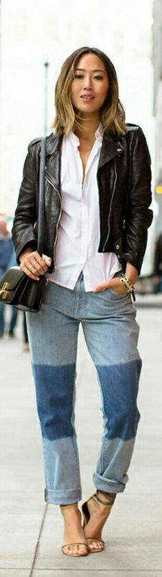 Leather Jacket and Patchwork Boyfriends Jeans / Fashion by Song of Style