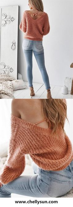 c917d684b4 Chellysun Oversized V Neck Backless Cozy oversized sweaters outfits for  fall and