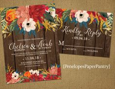 Rustic Fall Wedding Invitation,Fall Flowers,Teal,Orange,Red,Gold,Barn Wood,Rustic,Simple,Romantic,Custom,Printed Invitation,Wedding Set by PenelopesPaperPantry on Etsy https://www.etsy.com/listing/531885427/rustic-fall-wedding-invitationfall
