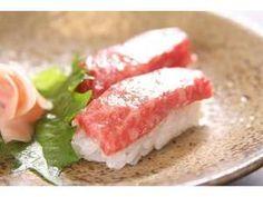 飛騨牛にぎり -This is a nigiri sushi (sushi shaped by hand) made with Hida beef