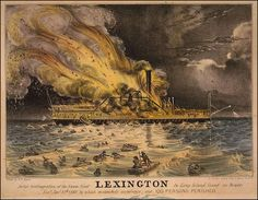SURNAMES: LEE & SWAN. Charles Lee and George O. Swan both perished aboard the steamship Lexington when it caught fire on the night of 13 January 1840. Bad visibility, freezing temperatures and overcrowded lifeboats contributed to the high death toll of one hundred and thirty-nine with only four survivors. SOURCE: Description: Conflagration of the Steam Boat Lexington.  Date: 13 January 1840. Source: Library of Congress. The image is in the public domain because the copyright has expired.