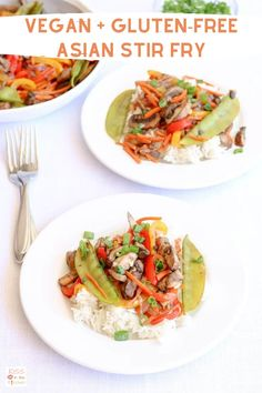 This delicious and colorful stir fry made with Monterey Mushrooms Umami Stir Fry (sponsored), tons of veggies, and white rice is bursting with flavor and is so easy to make! Vegan/vegetarian and gluten free! Vegetarian Options, Vegan Vegetarian, Maple Balsamic, Asian Stir Fry, Sauteed Mushrooms, Vegan Gluten Free, Food Print, Fries