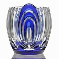 C1930S VAL ST LAMBERT BLUE OVERLAY CRYSTAL DECO VASE CHARLES GRAFFART