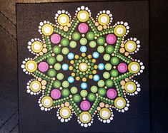Green and Gold Dandelion Dot Mandala Art