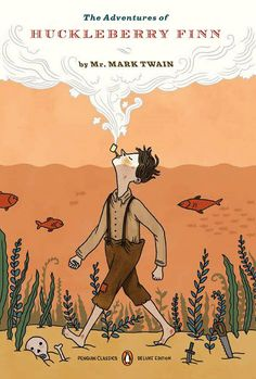 Book cover design by Lilli Carre for the Penguin edition of 'The Adventures of Huckleberry Finn' by Mark Twain