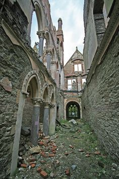 Hafodunos Hall ~ is an abandoned mansion near the village of Llangerny, in North Wales. It was designed by prominent Gothic Revival architect, Sir George Gilbert Scott and built between 1861-66 for Henry Robertson Sandbach.