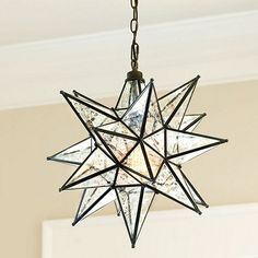 "Pendant in Stairwell: Moravian Star Pendant Mercury Glass $300 19""x19"" too small?"