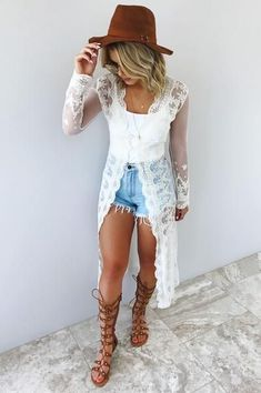 Caught in a dream cardigan: cream country concert outfit summer, boho chic outfits summer Summer Fashion Trends, Summer Fashion Outfits, Casual Summer Outfits, Boho Outfits, Cute Fashion, Spring Outfits, Summer Clothes, Womens Fashion, Fashion Spring