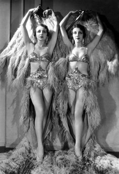 Vintage burlesque girls and their amazing feather costumes