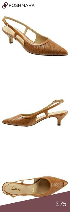 """Trotters Pump Nordstrom 💥 WORN ONCE.  Excellent condition  'Kimberly ' Nordstrom pump features hand finished mini-weave leather upper for a rich look. With a skinny posted sling back and kitten heel, Kimberly makes a wonderful all day and evening shoe.   Leather upper lining 2"""" Heel height Cushioned smooth and sueded leather footbed Trotters Shoes Heels"""