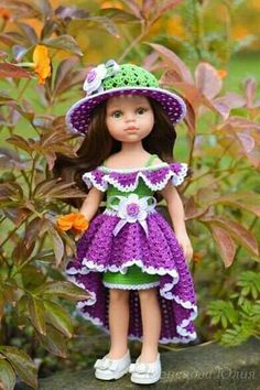 Crochet Doll Dress, Crochet Doll Clothes, Girl Doll Clothes, Barbie Clothes, Girl Dolls, Cotton Crochet Patterns, Baby Dress Patterns, Doll Clothes Patterns, American Girl Crochet