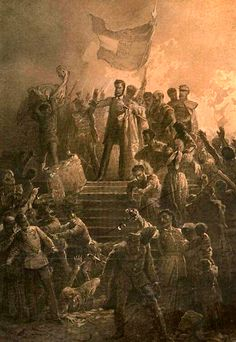 Hungarian Revolution: Artist Mihály Zichy's painting of Sándor Petőfi reciting the National Poem to a crowd on March 1848 Hungary History, Age Of King, Die Revolution, Germany And Italy, D Day, History Books, World War Ii, Travel Pictures, Wwii