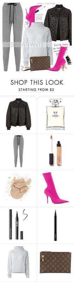 """Comfort is Key: Sweatpants"" by bklana ❤ liked on Polyvore featuring Balmain, Chanel, Markus Lupfer, Balenciaga, MAC Cosmetics, Le Kasha, Louis Vuitton, Bobbi Brown Cosmetics, sweatpants and bklana"