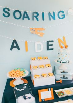 soaring... airplane party in blues and orange featured on Hostess with the Mostess