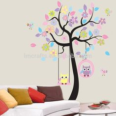 New Removable Vinyl Wall Stickers 2pcs/set Colorful Tree And Owls Home Decor Giant Wall Decals For Kids Rooms 170*160cm Jm7186 - Buy Owl Wall Stickers,Wall Stickers Tree Owls,Wall Stickers Tree Product on Alibaba.com