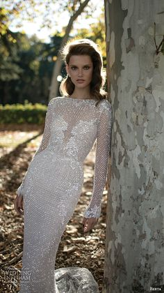 berta fall 2016 bridal elegant bateau neckline long sleeves sheath wedding dress