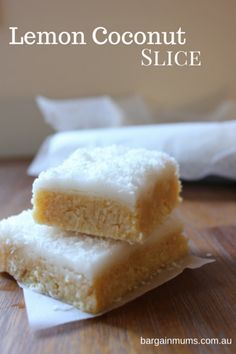 I'm a huge fan of quick, no bake slices, and this Lemon Coconut Slice would ha… - Practical Recipes No Bake Treats, Yummy Treats, Sweet Treats, Yummy Food, Baking Recipes, Cake Recipes, Dessert Recipes, Easy Biscuit Recipes, Fudge Recipes