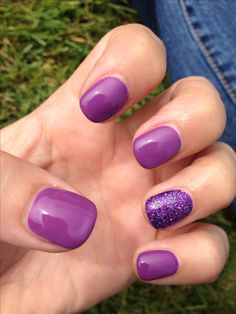 Purple sparkly shellac nails