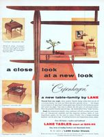 Lane Copenhagen Tables 1955 Ad. Drop Leaf Table, 864, 869 and 867. Corner Table, 868. Round Cocktail Table, 862. In Canada: Knechtel's, Ltd....