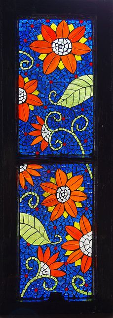Mosaic glass on glass window done by Meaco's Art Garden, via Flickr