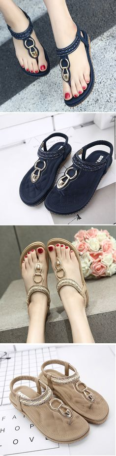 834daf2e2ef5 US 21.14 Metal Beaded Bohemia Clip Toe Elastic Flat Sandals Comfortable  Shoes