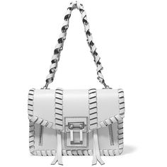 Proenza Schouler Hava whipstitched leather shoulder bag (2 824 AUD) ❤ liked on Polyvore featuring bags, handbags, shoulder bags, stone, white leather shoulder bag, white purse, kiss-lock handbags, genuine leather purse and genuine leather handbags