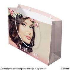 Custom 30th birthday photo hello 30 rose gold large gift bag
