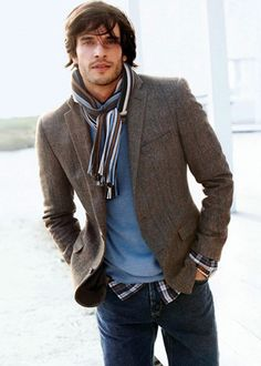 NOTE: the scarf has the same colors as the sweater & the plaid shirt underneath as well as the blazer. Works really well...!
